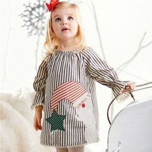 Mud Pie Pinstripe Santa Dress Baby Girls Size 9-12